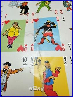 RARE Affiche TINTIN JEUX DE CARTES HerGé Casterman & Lombard 1980's