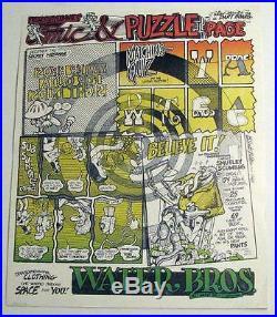 Rare Gilbert Shelton Water Bros 1969 High Grade Poster