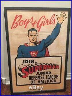 RARE ORIGINAL 1940s SUPERMAN JUNIOR DEFENSE LEAGUE OF AMERICA WARTIME POSTER