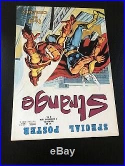 RARE Superbe STRANGE N° 60 poster Attaché Encarté X-MEN E. O LUG 1974 TTBE