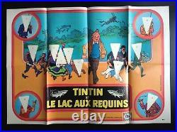 RARE série complète 12 autocollants Ola avec poster Tintin Le lac aux requins