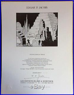 Rare! EDGAR P. JACOBS Portfolio Blake et Mortimer 150 ex. N&s 1983 Excel. État