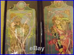 Rare Marvel Poster Set Gambit & Rouge Art Nouveau style Framed 1994