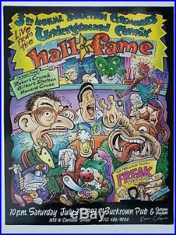 Rare Signed Gilbert Shelton Dan Clyne Underground Comix Poster Hof R. Crumb 1993