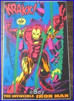 Rare Vintage 1971 Third Eye Marvel IRON MAN Black Light Poster NICE Y901