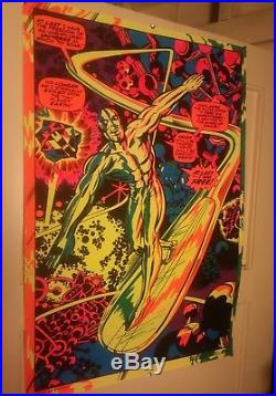 Rare Vintage 1971 Third Eye Marvel Silver Surfer Black Light Poster Near MINT