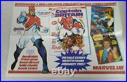 Rare vintage CAPTAIN BRITAIN MARVEL UK LAUNCH POSTER 1984 Alan Davis Alan Moore