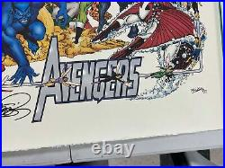 SIGNED George Perez 1994 MARVEL LIMITED Avengers LITHOGRAPH Poster Print in TUBE