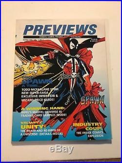 SPAWN cover PREVIEWS Diamond March 1992 predates Spawn #1 NICE COPY with POSTER