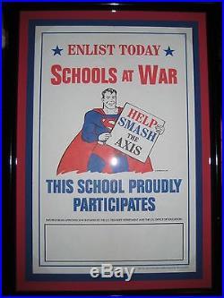 Superman Schools At War Poster Mint Unused Framed 1942