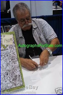 Sergio Aragones signed auto Groo characters 11x17 lithograph with sketch COA