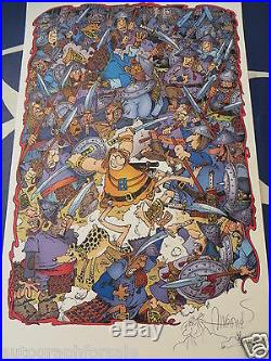Sergio Aragones signed auto Groo fighting army 11x17 lithograph with sketch COA