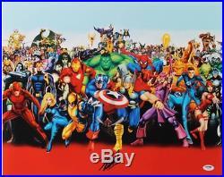 Stan Lee Custom Autographed Marvel Heroes Poster
