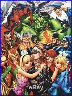 Stan Lee SIGNED Art Print J. Scott Campbell Ruffino Marvel Comics Avengers Rare