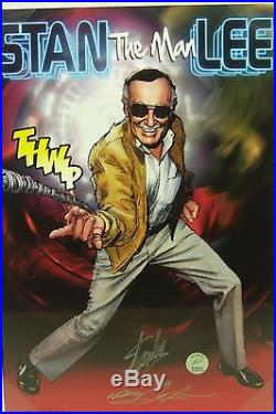 Stan The Man Lee print signed by STAN LEE and artist NEAL ADAMS, COA