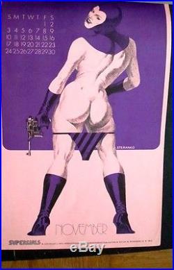 Supergirls 1973 Calendar Jim Steranko Super Rare. Near Mint