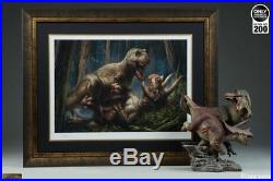 T-Rex Vs Triceratops Thirst Sideshow Premium Art Unframed