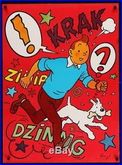 TINTIN ET LES ORANGES BLEUES Danish A1 poster HERGE 1970 NM RARE