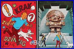 TINTIN ET LES ORANGES BLEUES TEMPLE DU SOLEIL Danish set of 2 posters HERGE 1970