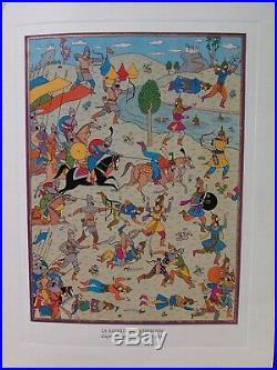 Tintin Carte de voeux 1977 signée Hergé bataille de Zileheroum SUPERBE