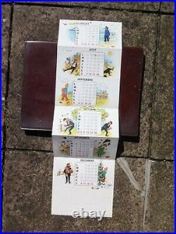 Tintin Carte de voeux 1983 signée Hergé carte dépliante en 6 SUPERBE
