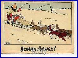 Tintin Carte neige traineau Hergé 1942/43 TBE