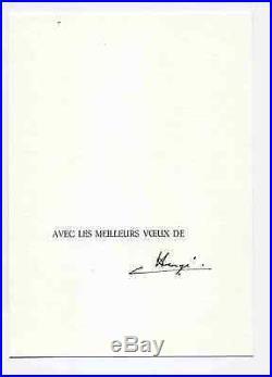 Tintin belle carte de voeux 1982 SIGNÉE par Hergé TTBE