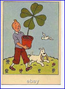 Tintin et le trèfle à 4 feuilles Carte Hergé années 60 TTBE