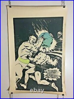 VTG Original Comic Book Poster Outsider Art Signed Numbered Batman Headache 1972