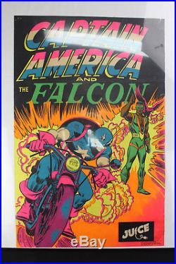 Vintage 1971 Marvel Captain America & The Falcon Third Eye Blacklight Poster