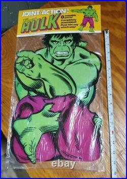 Vintage Incredible Hulk Jointed Hanging Figure Wall Poster 1978 Marvel MiB MoC