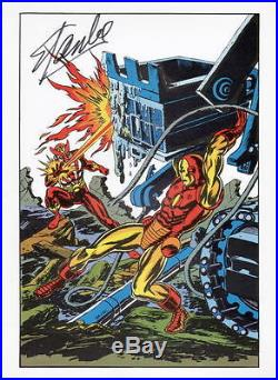 Vintage Marvel 1978 IRON MAN vs SUNFIRE Pin up Poster HAND SIGNED STAN LEE w COA