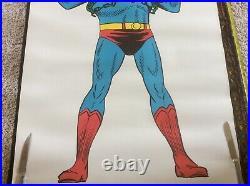 Vintage Original 1966 Superman and Batman 27 x 40 Comic Book Art