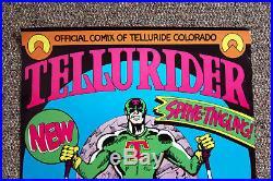 Vintage Tellurider Telluride Colorado Skiing Comic Book Poster Genuine Original