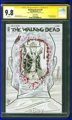 Walking Dead 150 CGC 9.8 SS Cal Slayton Original art Grimes TV Poster sketch